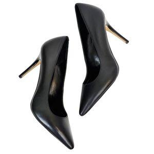 WHBM   7 OLIVIA Black Leather Pointy Toe Heel Pump